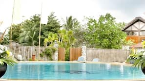 2 outdoor pools, open 8:00 AM to 10:00 PM, pool umbrellas, sun loungers