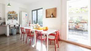 Fridge, microwave, high chair