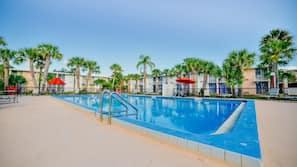 Outdoor pool, open 9 AM to 7:30 PM, sun loungers