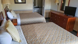 Blackout drapes, iron/ironing board, free rollaway beds, free WiFi