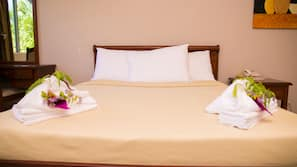 Premium bedding, desk, iron/ironing board, bed sheets