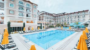 Indoor pool, 2 outdoor pools, open 7 AM to 7 PM, free pool cabanas