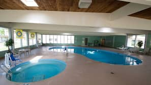 Indoor pool, open 6:00 AM to 10:00 PM, pool umbrellas, sun loungers