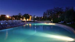 Indoor pool, 3 outdoor pools, open 9:00 AM to 6:00 PM, pool umbrellas
