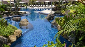 2 outdoor pools, open 6:00 AM to 7:00 PM, pool umbrellas, sun loungers