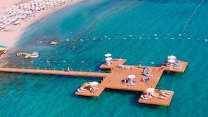 Private beach, sun-loungers, beach umbrellas, 2 beach bars