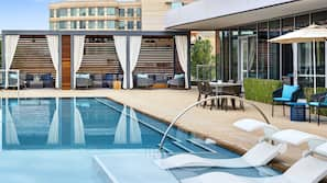 Outdoor pool, open 10:00 AM to 7:00 PM, pool loungers