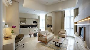 42-inch LED TV with cable channels, DVD player