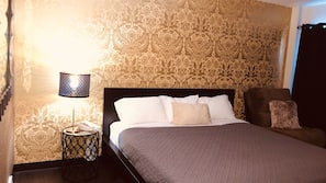Individually decorated, blackout drapes, free WiFi, bed sheets