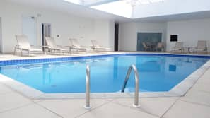 2 indoor pools, open 9 AM to 9 PM, sun loungers