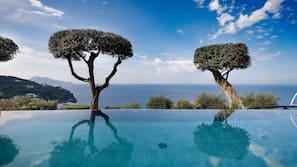 Seasonal outdoor pool, open 9 AM to 7 PM, pool umbrellas, sun loungers