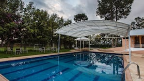Indoor pool, outdoor pool, open 8:00 AM to 9:00 PM, free cabanas