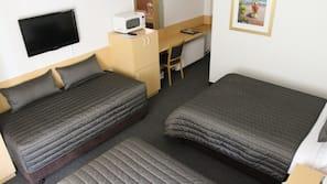 Desk, laptop workspace, blackout curtains, iron/ironing board