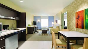Fridge, microwave, dishwasher, cookware/dishes/utensils