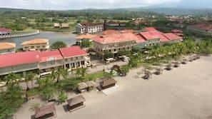 Private beach, black sand, beach cabanas, sun loungers