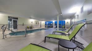 Indoor pool, open 9 AM to 10 PM, pool umbrellas, pool loungers