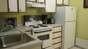 Microwave, coffee/tea maker, electric kettle, toaster