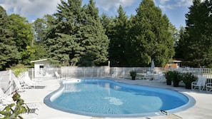 Seasonal outdoor pool, open 10:00 AM to 8:00 PM, pool loungers