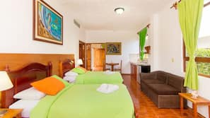 Down comforters, Tempur-Pedic beds, minibar, in-room safe
