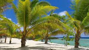 Private beach, white sand, free beach cabanas, snorkelling