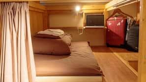 Down comforters, desk, laptop workspace, blackout drapes