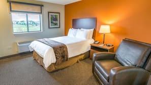 Premium bedding, laptop workspace, blackout drapes, iron/ironing board