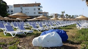 Private beach, free beach cabanas, sun loungers, beach umbrellas