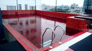 A rooftop pool