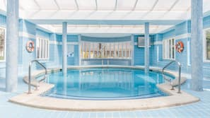 Indoor pool, 3 outdoor pools, open 10:00 AM to 6:00 PM, pool umbrellas