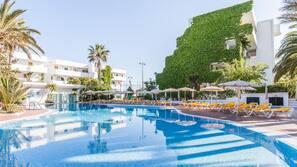 Indoor pool, 3 outdoor pools, open 10:00 AM to 6:00 PM, pool umbrellas