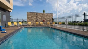 Outdoor pool, open 8:00 AM to 10:00 AM, pool umbrellas, sun loungers