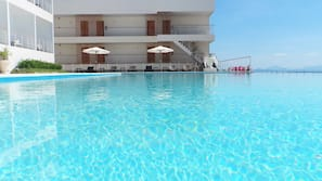 Outdoor pool, open 8:00 AM to 9:30 PM, pool umbrellas, pool loungers