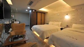 고급 침구, 오리/거위털 이불, 메모리폼 침대, 무료 미니바