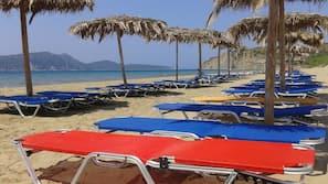 Beach nearby, sun loungers, beach umbrellas, beach bar