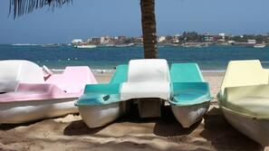 Plage privée, chaises longues, parasols, planche à voile