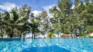2 outdoor pools, open 6:00 AM to 8:00 PM, pool umbrellas, sun loungers