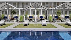 Outdoor pool, open 9 AM to 9 PM, cabanas (surcharge), pool umbrellas