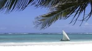 Am Strand, weißer Sandstrand, Strandbar