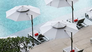 Indoor pool, open 10:00 AM to 7:30 PM, pool umbrellas, sun loungers