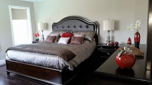 Premium bedding, pillowtop beds, individually decorated, blackout drapes