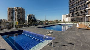 Indoor pool, outdoor pool, open 6:00 AM to 10 PM, sun loungers