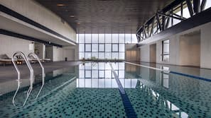 Indoor pool, open 10:00 AM to 6:00 PM, sun loungers