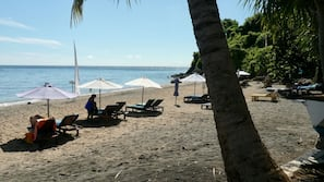 On the beach, black sand, scuba diving, snorkelling