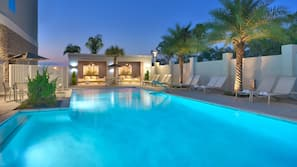 Outdoor pool, open 10:00 AM to 11:00 PM, free cabanas