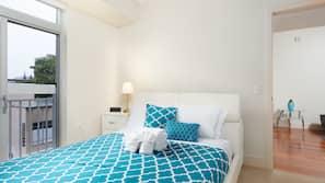 2 間臥室、高級寢具、書桌、熨斗/熨衫板
