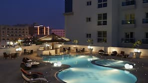 Outdoor pool, open 8:00 AM to 8:30 PM, pool umbrellas, pool loungers