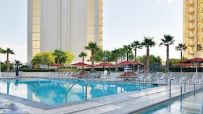 3 outdoor pools, open 7:00 AM to 7:00 PM, cabanas (surcharge)