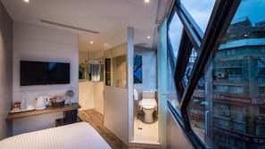 1 間臥室、高級寢具、羽絨被、保險箱