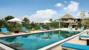 2 outdoor pools, open 6:30 AM to 6:00 PM, pool umbrellas, pool loungers