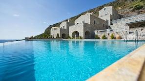 Seasonal outdoor pool, open 8 AM to 7 PM, pool umbrellas, pool loungers